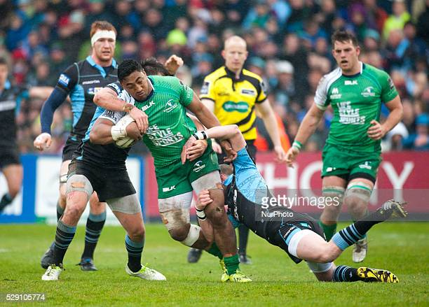 Bundee Aki of Connacht tackled by Glasgow players during the Guinness PRO12 rugby match between Connacht Rugby and Glasgow Warriors at the...
