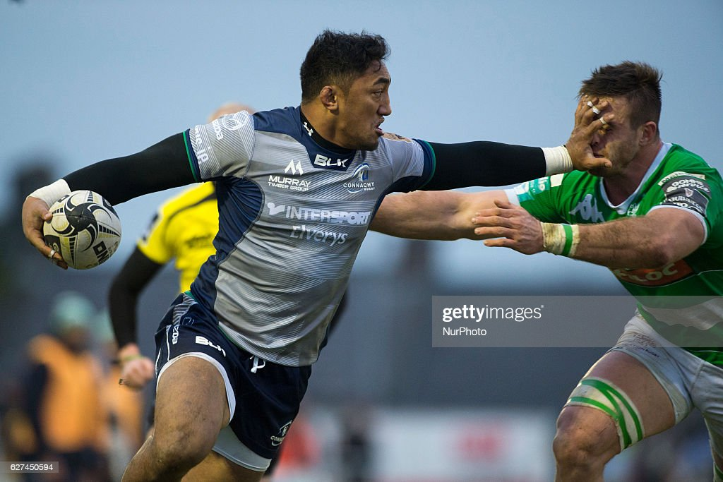Bundee Aki of Connacht with the ball and Tito Tebaldi of Benetton during the Guinness PRO12 Round 10 match between Connacht Rugby and Benetton Treviso at the Sportsground in Galway, Ireland on December 3, 2016