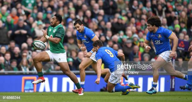 Bundee Aki of Ireland breaks free during the NatWest Six Nations match between Ireland and Italy at Aviva Stadium on February 10 2018 in Dublin...