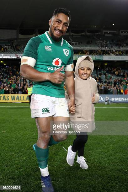 Bundee Aki of Ireland celebrates with his daughter after winning the Third International Test match between the Australian Wallabies and Ireland at...