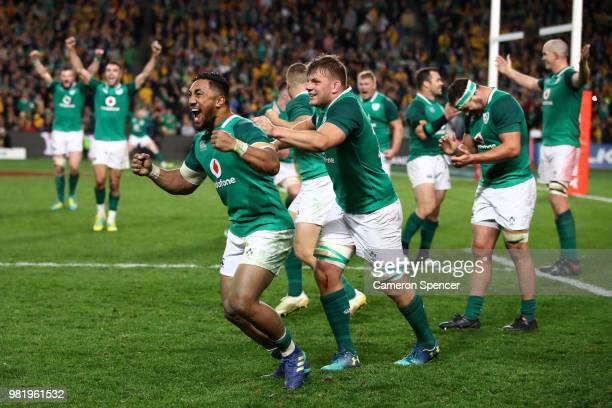 Bundee Aki of Ireland celebrates with team mates after winning the Third International Test match between the Australian Wallabies and Ireland at...