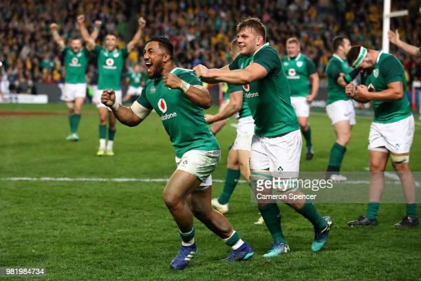 Bundee Aki of Ireland celebrates with team mates after winning the Third International Test match between the Australian Wallabies and Ireland at...