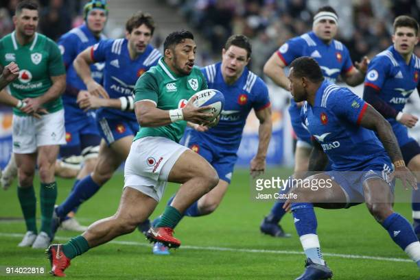 Bundee Aki of Ireland during the NatWest 6 Nations match between France and Ireland at Stade de France on February 3 2018 in SaintDenis near Paris...