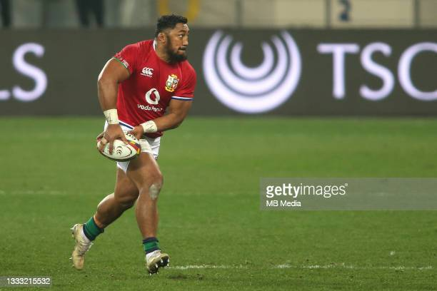 Bundee Aki of the British & Irish Lions during the 3rd Test between South Africa and the British & Irish Lions at FNB Stadium on August 7, 2021 in...