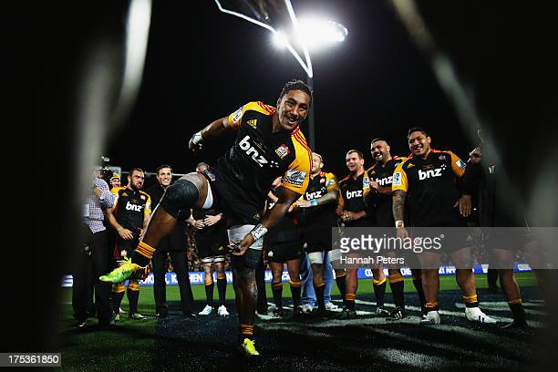 Bundee Aki of the Chiefs celebrates after winning the Super Rugby Final match between the Chiefs and the Brumbies at Waikato Stadium on August 3 2013...