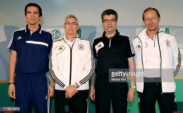 Bundeliga referee Deniz Aytekin DFB department manager Lutz Michael Froehlich chairman of the DFBRefereeCommitteee Herbert Fandel and representative...