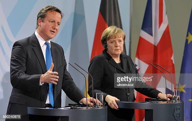 Bundeskanzlerin Angela Merkel und der britische Premierminister David Cameron während einer Pressekonferenz anlässlich seines Besuches in Berlin