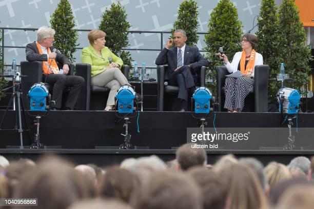 Bundeskanzlerin Dr. Angela Merkel und Barack Obama auf dem 36. Evangelischen Kirchentag in Berlin Bundeskanzlerin Angela Merkel, Barack Obama, den...