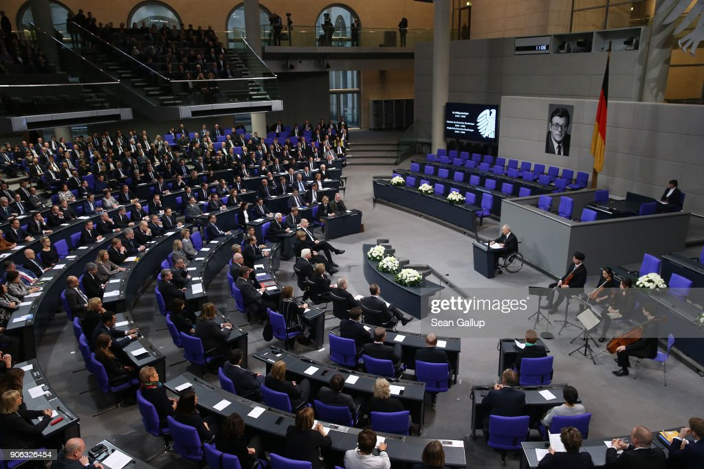 Bundestag President Wolfgang Schaeuble speaks at a memorial ceremony for late former Bundestag President Philipp Jenninger in the Bundestag plenary hall on January 18, 2018 in Berlin, Germany. Jenninger served as Bundestag president from 1984 to 1988.
