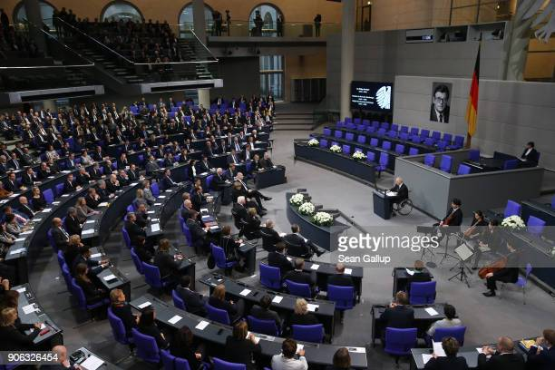 Bundestag President Wolfgang Schaeuble speaks at a memorial ceremony for late former Bundestag President Philipp Jenninger in the Bundestag plenary...