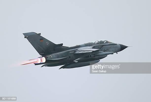 Bundeswehr Luftwaffe ECR Tornado reconaissance jet departs for Incirlik airbase in Turkey as part of Germany's participation in the international...