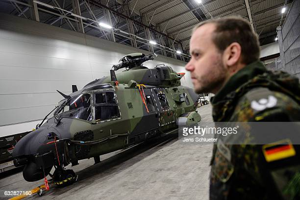 Bundeswehr NH90 helicopter stands in a hall just before loading onto a plane to ship it to German troops serving in Mali on January 27 2017 in...