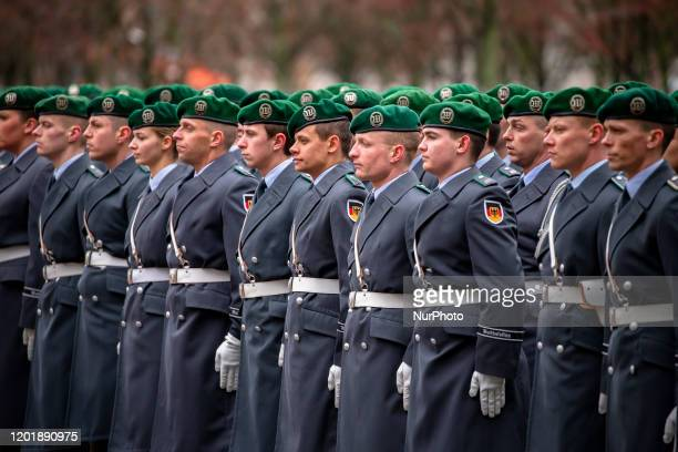 Bundeswehr soldiers are pictured at the Chancellery in Berlin on February 19 2020