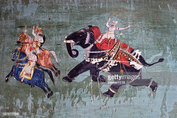 bundi palace painting from rajasthan, india - war stock pictures, royalty-free photos & images