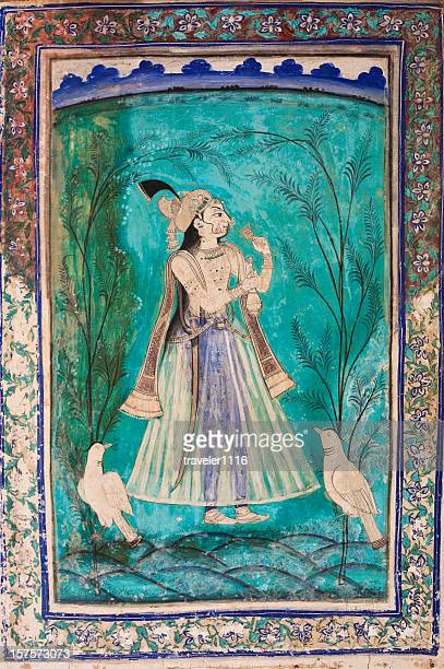 bundi palace painting from rajasthan, india - mughal empire stock photos and pictures