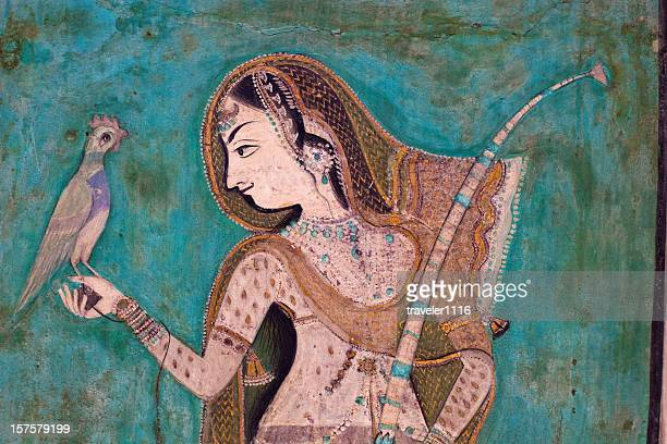 bundi palace painting from rajasthan, india - queen royal person stock photos and pictures