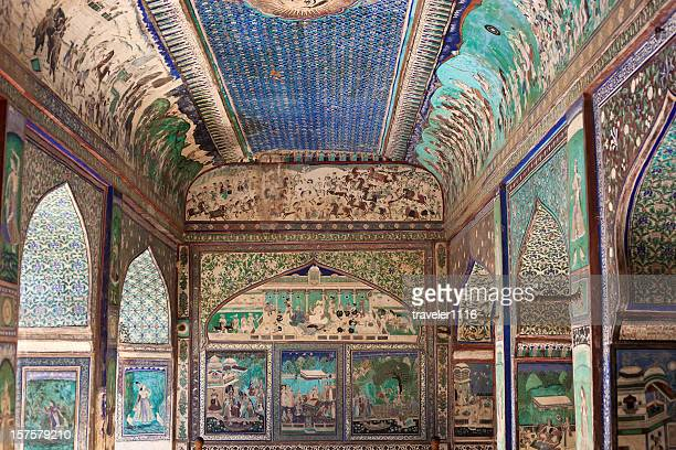 bundi palace painting from rajasthan, india - mughal empire stock pictures, royalty-free photos & images
