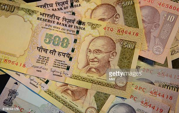 A bundle of 500 INR rupees currency notes on July 10 2015 in New Delhi India