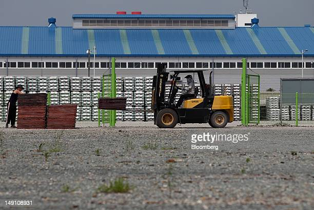 A bundle of copper sheets is moved with a forklift at the Public Procurement Service Busan base warehouse in Busan South Korea on Saturday July 21...