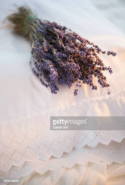 Bundle of dry lavender lying on embroidered pillow