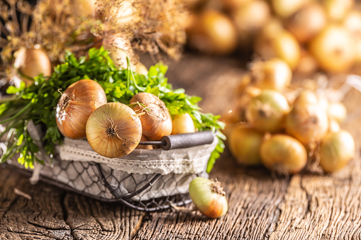 Bundle of freely lying dried onion with parsley herbs and dill in basket on a wooden table 1171701033