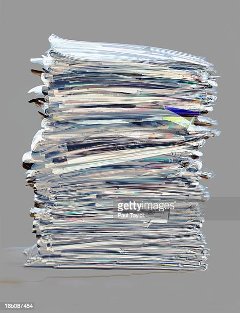 Bundle of Newspapers in Stack