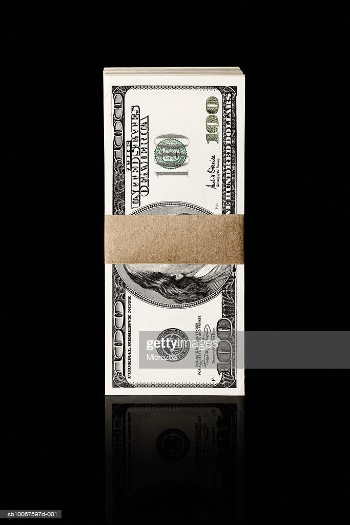 Bundle of one hundred Dollar notes, studio shot : Stock Photo