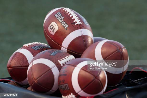 A bundle of spare CFL footballs on the sidelines in Canadian Football League action on July 20 2018 at Ottawa's TD Place Stadium The Ottawa Redblacks...