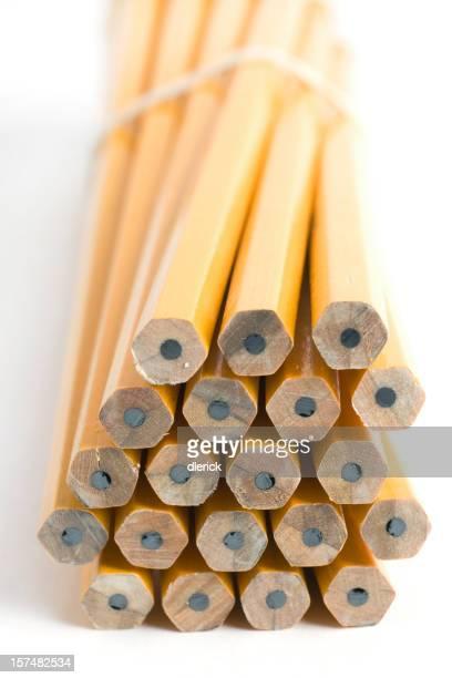Conjunto de lápices amarillos unsharpened