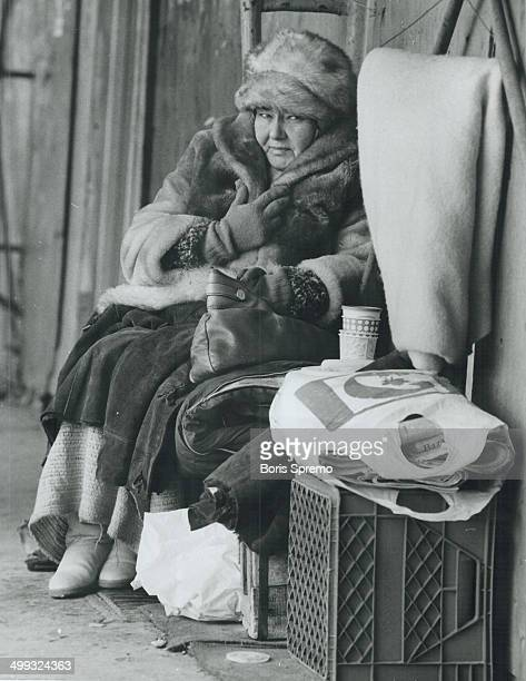 Bundled up Jean Howard a bag lady who for the past three years has spent her nights sleeping at the doorstep of a Queen St E Victoria St office...