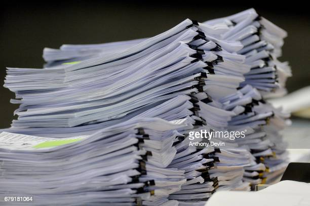 Bundles of ballot papers await counting for the Greater Manchester mayoral election at Manchester Central on May 5 2017 in Manchester England Six new...