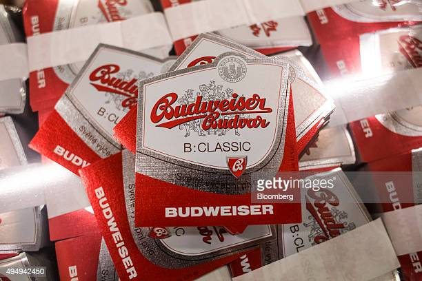Bundles of Budweiser Budvar beer labels sit before attachment at the Budejovicky Budvar NP production plant in Ceske Budejovice Czech Republic on...
