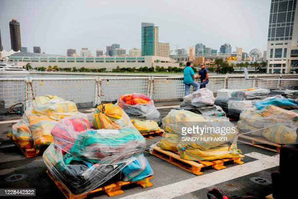 Bundles of drugs are seen aboard the US Coast Guard Cutter Bertholf on September 10 2020 in San Diego California The crew seized more than 2600...
