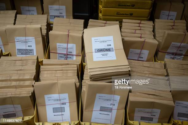 Bundles of envelopes for ballots to be put in after they are counted before the EU election on May 16 2019 in Berlin Germany Early voting is underway...