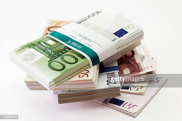 Bundles of Euro banknotes, close-up