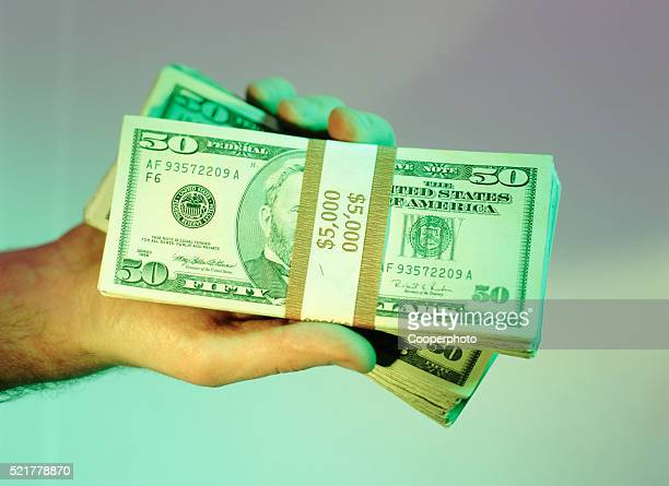 Bundles of fifty dollar bills