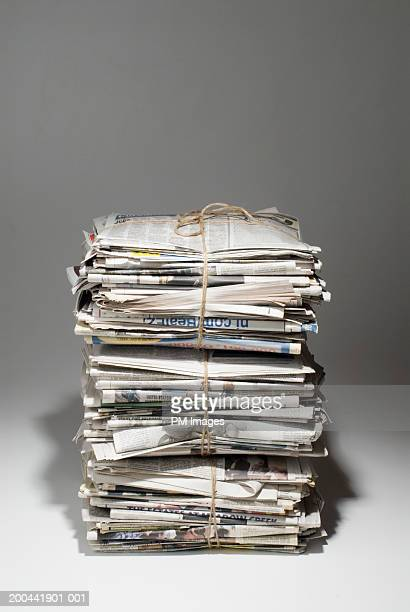 Bundles of old newspapers