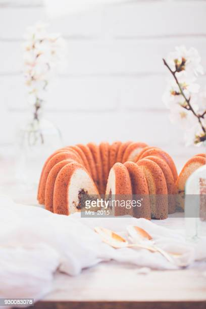 Bundt cake with pecan nuts and cinnamon