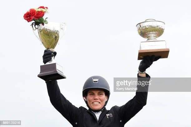 Bundy Philpott celebrates winning the CCI*** class during the Puhinui International Horse Trials on December 10 2017 in Auckland New Zealand