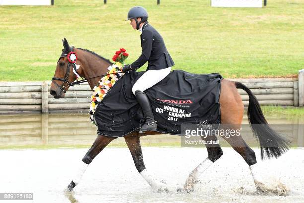 Bundy Philpott rides a victory lap on Tresca NZPH after winning the CCI*** class during the Puhinui International Horse Trials on December 10 2017 in...