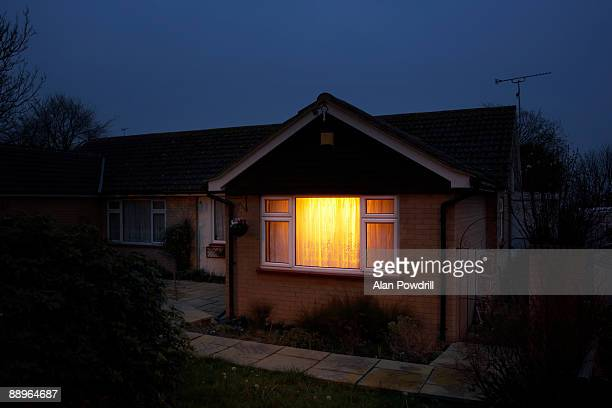 bungalow with light on