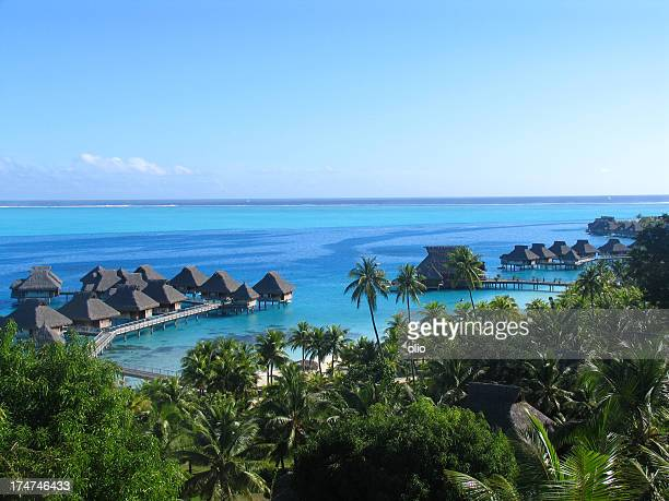 bungalows in french polynesia - polynesia stock pictures, royalty-free photos & images