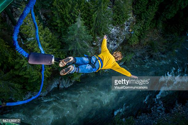 bungee jumping. - moving activity stock pictures, royalty-free photos & images