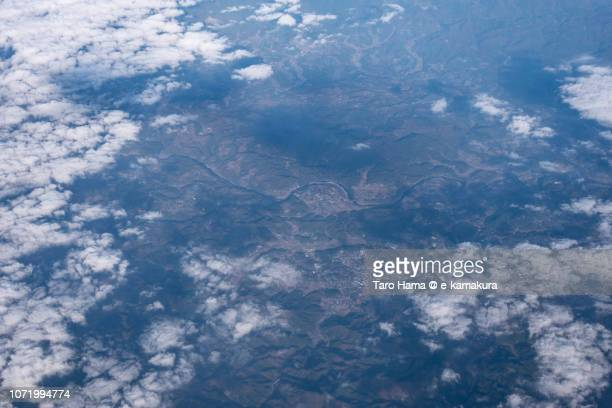 Bungo-Ono city in Oita prefecture in Japan daytime aerial view from airplane