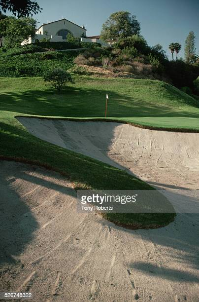 Bunker along the edge of the green of the second hole at the Riviera Country Club.
