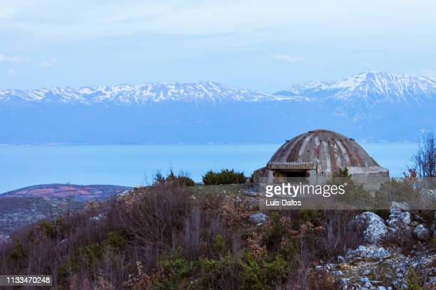 bunker by the lake ohrid - air raid shelter stock pictures, royalty-free photos & images