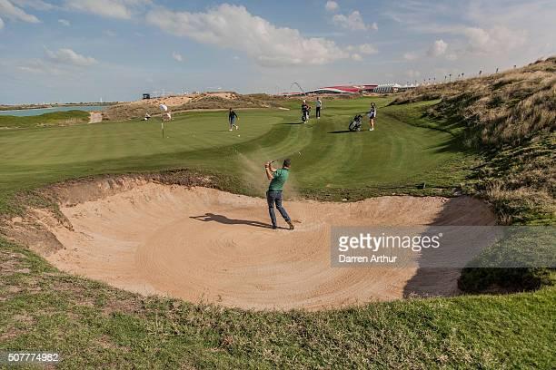 Bunker shot at the Abu Dhabi Invitational at Yas Links Golf Course on January 31, 2016 in Abu Dhabi, United Arab Emirates.
