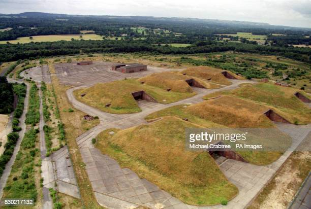 Bunkers at Greenham Common in Aldermaston Berkshire The former US airbase which has now been turned into a business park was the site of continuous...