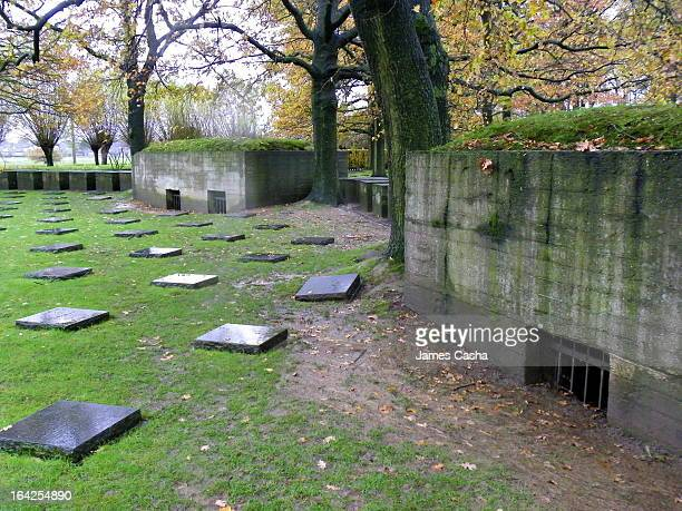 Bunkers in the WW1 German mlitary cemetary in Langemark near Ypres, Belgium.