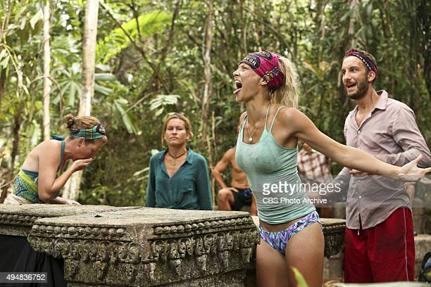 'Bunking With The Devil' Kass McQuillen AbiMaria Gomes Kelley Wentworth and Stephen Fishbach during the sixth episode of SURVIVOR Wednesday Oct 28...